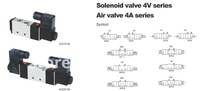 "Арматура 4V230-08P 5Ports3Position Dual Solenoid Pneumatic Air Valve 1/4"" BSPT AC220V"