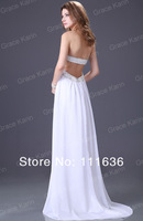 Free shipping!New Arrival Freeshipping 2012 Long Strapless Evening Chiffon White Dress CL2426