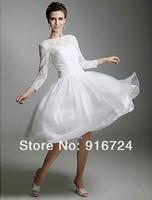Свадебное платье A-line Knee-length Full Sleeves Lace Wedding Dress