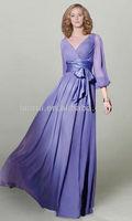 элегантные длинные шифон вечерние платья 3/4 рукава v-образным вырезом