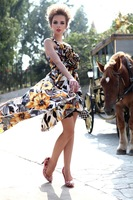 2012 New Design Cocktail Fashion Floral Long Dress Yellow Party Dress One-Shoulder Banquet Dress Free Shipping