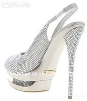 Туфли на высоком каблуке 2011 Diamond Platform high heels shoes Sandal shoes real leather/gold and silver