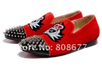 2012 Brand Embroidery Suede Leather Discount British Style Men Fashion Street Spikes Studs Shoes Red Bottom