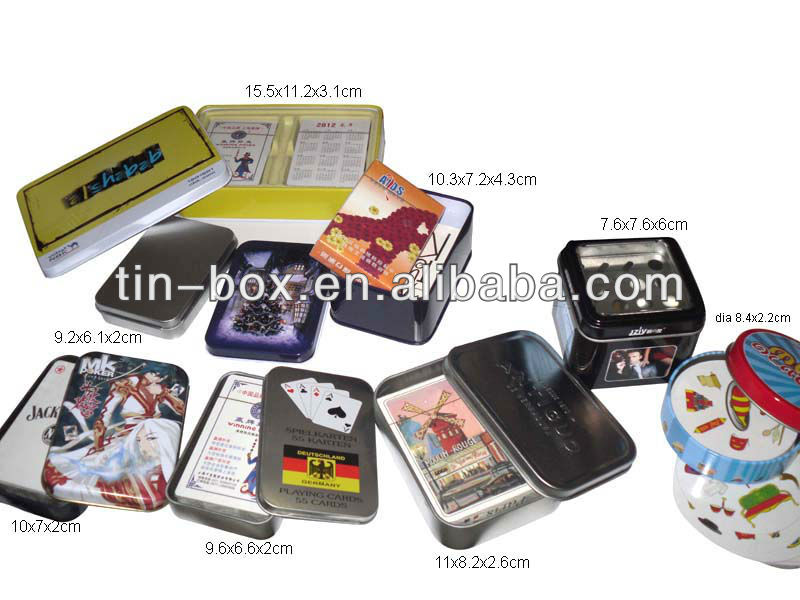 Tin box with set of playing cards and chips