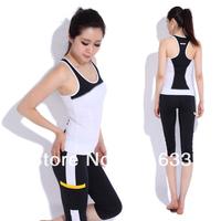 йога костюм женщин плюс размер одежды без рукавов пэчворк тренировки фитнес, йога Йога Топ + шорты носить весной/летом