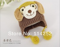 Free Shipping Children handmade dog rabbit ear cap,Princess Warm hat,baby Knitted hat,kid's cartoon cap