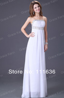 Вечернее платье 2012 Long Strapless Evening Chiffon White Dress CL2426