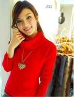 Женский пуловер 2012 Fashin Winter Big Ture-down Collar Knitted Sweater many color can choose
