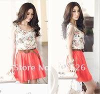 2013 wholesale Women's Flower Floral Pattern Sleeveless Chiffon Comfort Summer Mini Dress without belt 4979