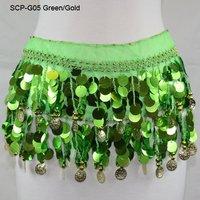 Женская одежда Belly Dance Hip Scarf Skirt Wrap Color Coins Gold Coins Chiffon Sequins