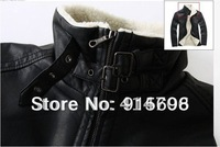 Free shipping!the new man warm locomotive leather coat South Korea leisure standing collar + cashmere leather jacket size:S--XL