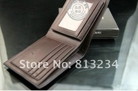 Free shipping New Brand  2013 Fashion Designer Genuine leather Wallets  Men Bifold Purses Coffe Wholsale Z-48