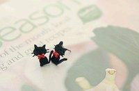Серьги-гвоздики lovely red bow-knot small kitty earring R2005