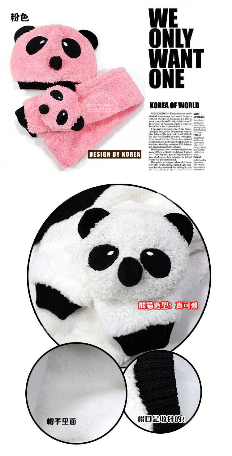 2012 children hat 100% wool hat+scarf two piece set Panda cap children animal cap Warm winter Gift