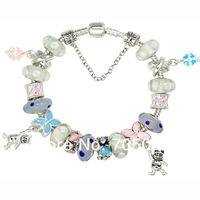 Christmas Day White and Blue Murano Glass Beads Bear and Clover Pendant Charm Beads European Bracelet ZF01