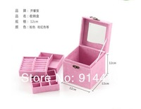 Free shipping purple color jewelry supply storage organizer box mirrored jewelry boxes for sale and 3 layers with lock