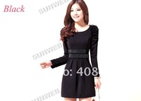 Женское платье women's dress slim puff sleeve dress OL elegant slim hip skirt long sleeve dress 4 colors 7436
