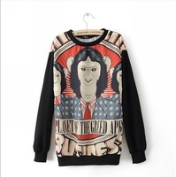 Женские толстовки и Кофты Greed apes oralogy loose thin print colorant match long-sleeve o-neck sweatshirt outerwear female