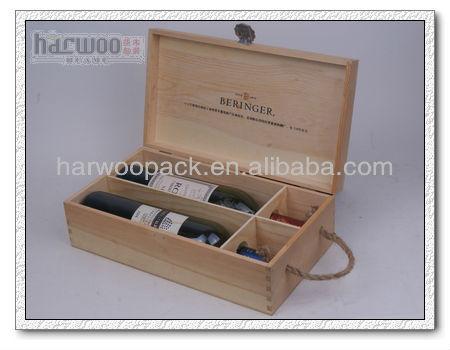 Matt Finished Small Wood Wine Carrier Box