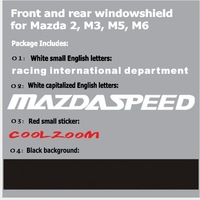 Наклейки 10pcs/Lot Reflective Car stickers MAZDASPEED RACING Front and Rear Windowshield Decal for Mazda 2, M3, M5, M6