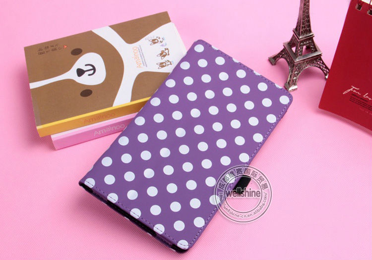 Classic Polka Dots Filio Leather Case For Google Nexus 7 2nd II 2013 (2nd Gen) With Pen Slot