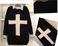 Free Shipping SW-016 Fashion White Cross Printed Sweater Women Pullovers Knitwear Geometry Sweaters 4 Colors