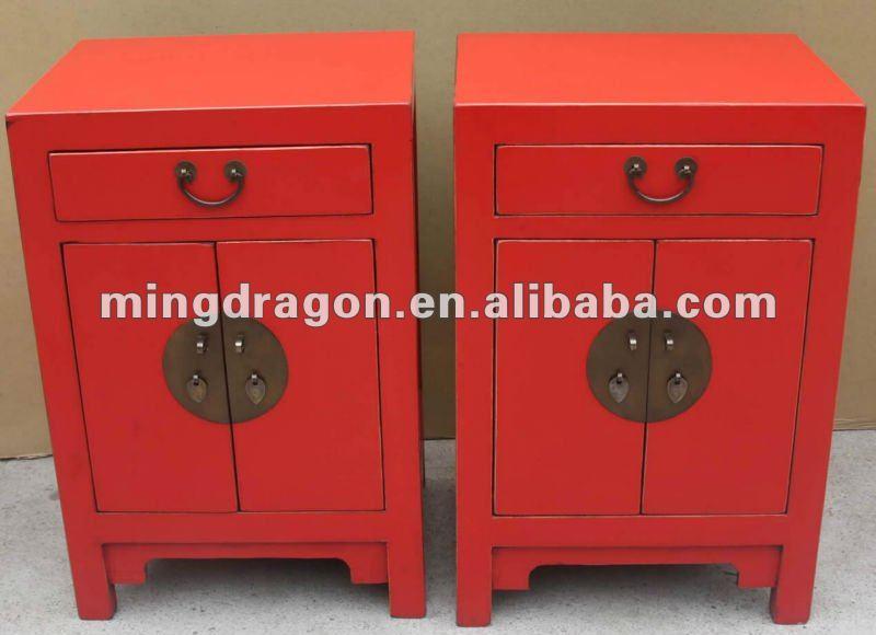 Chinois reproduction blanc chevet petite armoire meubles for Table de nuit chinoise