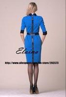 Женское платье 2012 victoria Autumn & Spring Stretch Cotton 3/4 Sleeve Dress With belt ED120