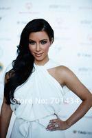 Вечернее платье 2012! New fashion halter white chiffon floor-length prom dress young ladie's evening dress M076