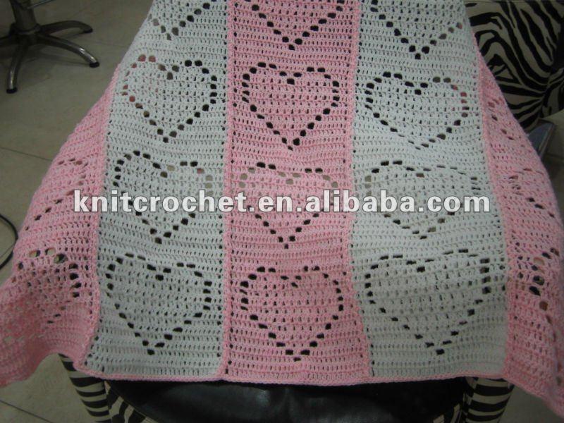 Manta hecha a mano de lujo del bebé del ganchillo del Knit (KCC-HB004