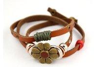 Min.order is $5 (mix order)free shipping,National retro style flower bracelet,leather fashion bracelet(B002)