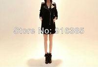 Patchwork leather collar wool coat female long duffle wool coat    F3