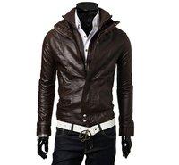Мужские изделия из кожи и замши 2012 Mens Slim Fit Pu Leather Jacket Coat Black&Brown SIze M L XL XXL Coat 2 Color 4SIZE
