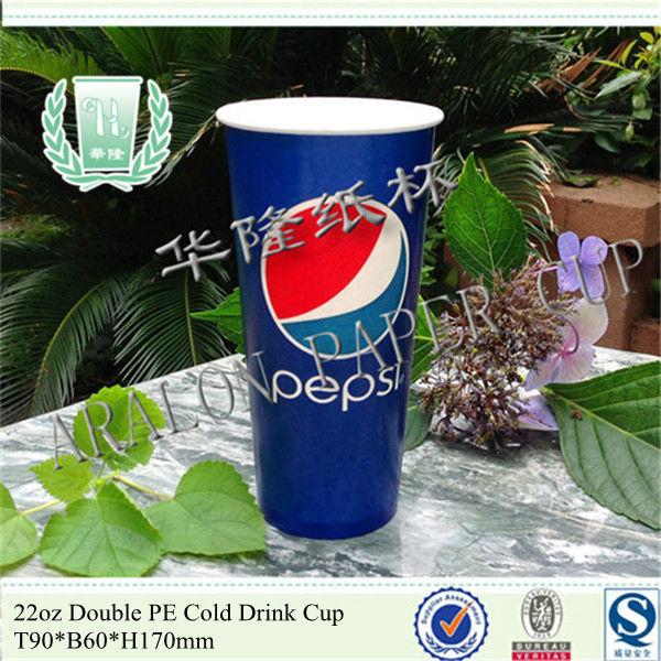 22oz freddo bevanda tazza di carta/doppio rivestito in pe
