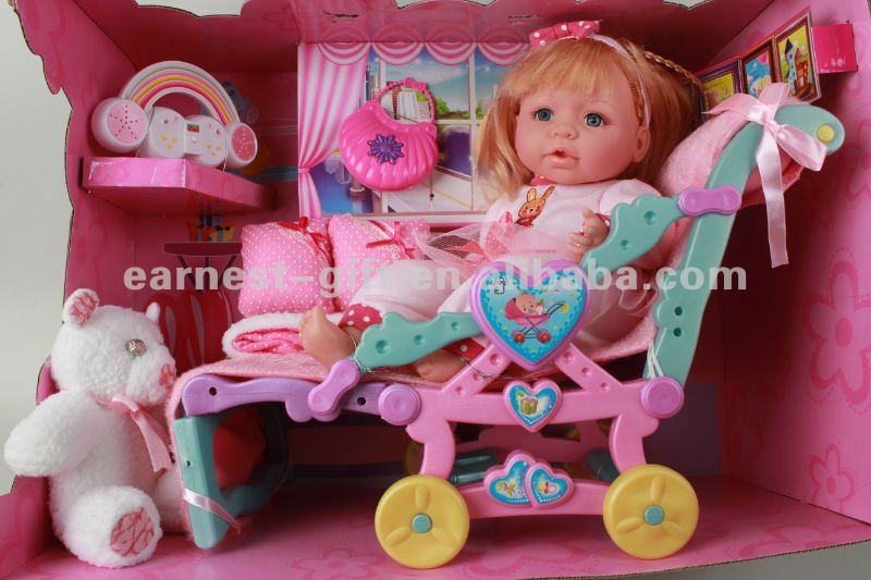 18'' fashion girl doll with plus toy,cloth,bed