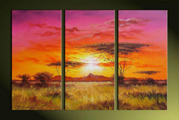 3 pieza de arte de la pared , paisaje arte africano painting ...