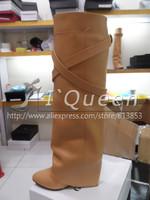 леди мода клинья сапоги для женщин зимой через колено высокие марка сексуальный пряжки обуви