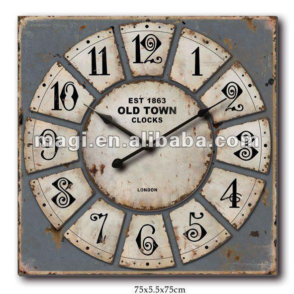 En bois est 1863 vieille ville antique carr horloge - Tres grande horloge murale ...