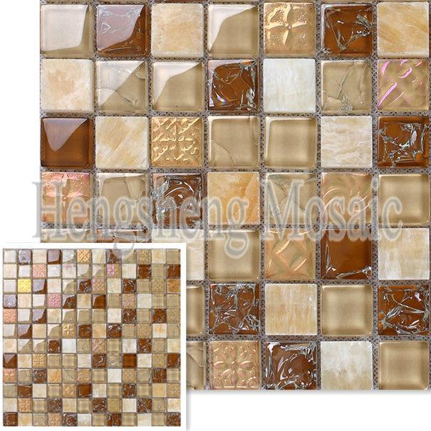 Beige Color Crackle Glass Mix Stone Mosaic Tiles Cheap Kitchen