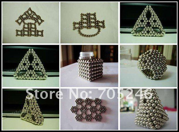Neodymium Four Colors 216 Pcs/Set 5mm Neo Cube N35 Neocube Balls With Tin Box Free Shipping Silver