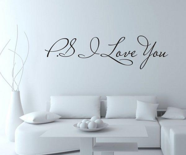 Muurstickers Slaapkamer Decoratie : PS I Love You Wall Quotes