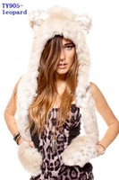 Женская шапка new spirit hood winter animal faux fur hats black wolf navajo with gloves TY 909