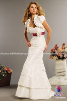 Свадебное платье 2012A+New Design! Strapless Mermaid Modern Taffeta with a Ribbon and Detachable Flower Wedding Dress