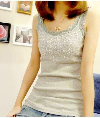 Free Shipping 2012 новые горячие дамы кружева бисером Хлопок майки Vest T-shirt 3 colors 8920