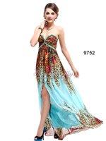 Коктейльное платье HE09752ZS Strapless Rhinestones Beads Printed Split Chiffon Evening Dress
