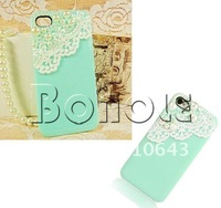 Чехол для для мобильных телефонов Holiday Sale! New Luxury Cute Lace Bling Pearl Sweet Case Cover for iPhone 4 4G 4S Sky Blue