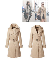 Женский тренч Fashion Single Breasted Lapel Dress Women, Lady Cape Coat Windbreaker Career Dress Casual Coat With Belt HC122