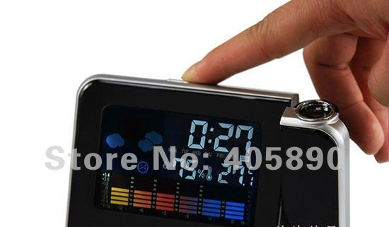 Snooze Multi-Function Weather Station Projection Alarm Clock with Colorful LED Backlit