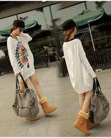 Женская футболка Fashion Women's Clothing Ladies Loose Batwing Dolman Long Sleeve Cotton Casual Tops T-Shirt White Size M 0664