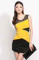 Новая летняя мода пряжи сращивания платье без рукавов изящные желтые #12092